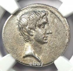 Roman Ar Denarius Auguste Octavian Silver Coin 32 Bc Certifié Ngc Vf