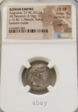 Roman, Augustus Denarius Ngc Choice Vf Ancienne Pièce D'argent