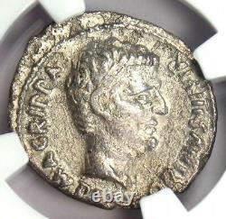 Roman Augustus Et Agrippa Ar Denarius Rome Coin 13 Bc Certifié Ngc Xf