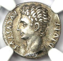 Roman Augustus Octavian Ar Denarius Coin 15 Bc Certifié Ngc Choice Xf (ef)