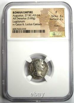 Roman Augustus Octavian Ar Denarius Coin 27 Bc 14 Ad Certified Ngc Fine
