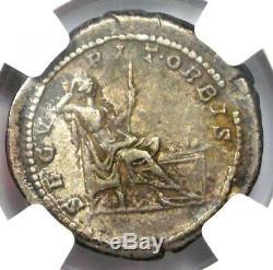 Roman Caracalla Ar Denarius Argent Monnaie 198-217 Ad Certifié Ngc Choix Vf
