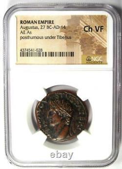 Roman Divus Augustus Ae Comme Pièce Sous Tibère 22-30 Ad Ngc Choice Vf