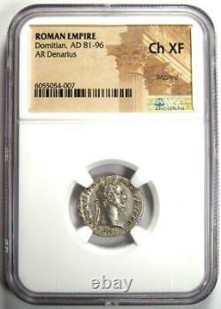 Roman Domitian Ar Denarius Silver Coin 81-96 Ad Certifié Ngc Choice Xf (ef)