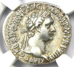 Roman Domitian Rr Denarius Silver Coin 81-96 Ad Certifié Ngc Xf (ef)