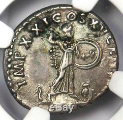 Roman Domitien Ar Denarius Argent Monnaie 81-96 Certifié Ngc Xf Choix (ef De)