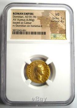 Roman Domitien Or Av Aureus Coin 81-96 Certifié Ngc Vg (very Good)