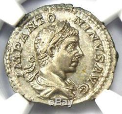 Roman Élagabal Ar Denarius Silver Coin 218-222 Ad Certifié Ngc Ms (unc)