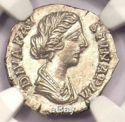 Roman Faustina Jr Ar Denarius Peacock Coin 147-175 Ad Ngc Choix Condition Ua