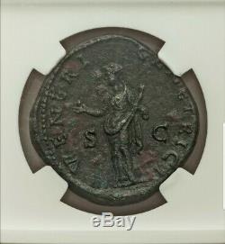Roman Faustina Junior Sestertius Ngc Au 5/2 Beaux Style Ancienne Pièce De Monnaie
