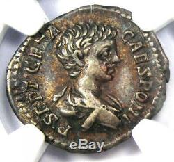 Roman Geta Ar Denarius Argent Monnaie 209-211 Ad Certifié Ngc Xf (ef) Rare