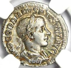 Roman Gordian III Ar Denarius Coin 238-244 Ad Ngc Ms (unc) 5/5 Grève