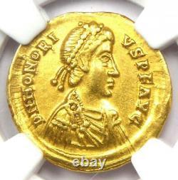 Roman Honorius Av Solidus Gold Coin 393-423 Ad Certifié Ngc Xf (ef)