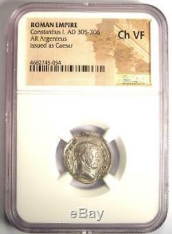 Roman I Ar Argenteus Constantius Coin 305-306 Ad Certifié Ngc Choix Vf