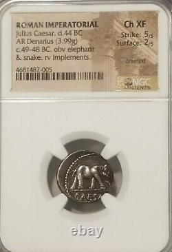Roman Imperatorial Jules César Denarius Éléphant Ngc Ch Xf Pièce D'argent Antique