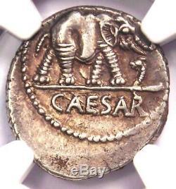 Roman Jules César Ar Denarius Monnaie 48 Bc Elephant Serpent Certifié Ngc Au