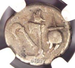 Roman Jules César Ar Denarius Monnaie 48 Bc Elephant Serpent Certifié Ngc Fin