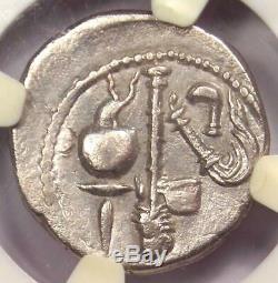 Roman Jules César Ar Denarius Monnaie 48 Bc Elephant Serpent Ngc Très Fin (vf)