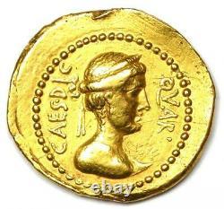 Roman Julius Caesar Gold Av Aureus Coin (44 Av. J.-c.) Ngc Choice Vf (certificat)