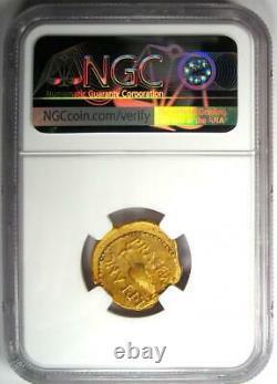 Roman Julius Caesar Gold Av Aureus Coin (45 Av. J.-c., L. Plancus) Certifié Ngc Vf