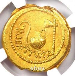 Roman Julius Caesar Gold Av Aureus Coin 46 Av. J.-c. Certifié Ngc Choice Au (ch Au)