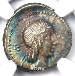 Roman L. C. Piso Frugi Ar Denarius Coin 90 Bc Certifié Ngc Au Rainbow Tone