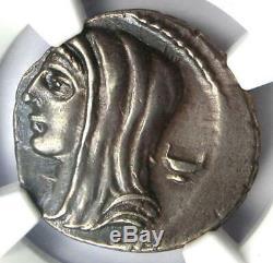 Roman L. Cassius Longinus Ar Denarius Vesta Pièce 63 Bc Ngc Xf Choix