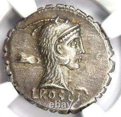 Roman L. Rosc. Fabatus Ar Denarius Serratus Coin 64-59 Bc Certifié Ngc Xf