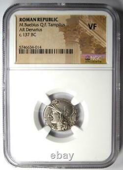 Roman M. Baebius Qf. Tampilus Ar Denarius Silver Coin 137 Bc Certifié Ngc Vf