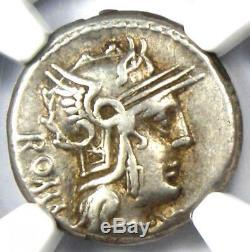 Roman M. Cae. Metellus Ar Denarius Silver Coin 127 Bc Certifié Ngc Choix Vf
