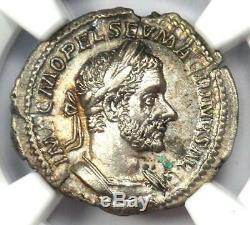 Roman Macrinus Ar Denarius Argent Monnaie 217-218 Ad Certifié Ngc Ua Condition