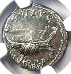 Roman Marc Antony Ar Denarius Argent Galley Monnaie 30 Bc Ngc Au Rare Année