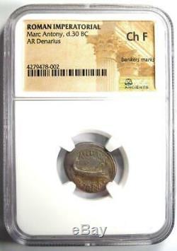Roman Marc Antony Ar Denarius Argent Monnaie 30 Bc Certifié Ngc Choix Fin