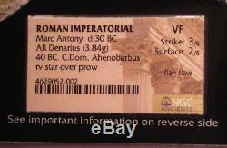 Roman Marc Antony Ar Denarius Coin Ahenobarbus 40 Av. Ngc Vf (certificat Photo)
