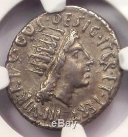 Roman Marc Antony Ar Denarius Monnaie 38 Bc Certifié Ngc Choix Vf Condition