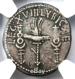 Roman Marc Antony Ar Denarius Silver Coin 32 Bc Certifié Ngc Choix Vf