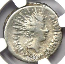 Roman Marc Antony Ar Denarius Silver Coin 42 Bc Certifié Ngc Vf (très Beau)