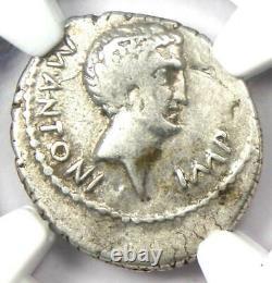 Roman Marc Antony Ar Denarius Silver Coin 42 Bc Certifié Ngc Vf (très Fine)