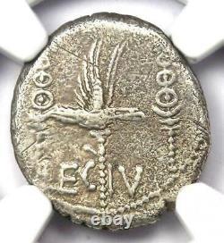 Roman Marc Antony Ar Denarius Silver Galley Coin 30 Bc Certifié Ngc Vf