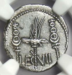 Roman Marc Antony Ar Denarius Silver Galley Coin 32 Bc Certifié Ngc Au
