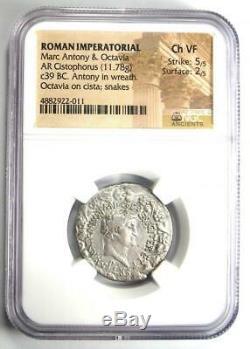 Roman Marc Antony Et Octavia Ar Cistophorus Coin 39 Av. Certifié Ngc Choix Vf