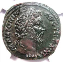 Roman Marcus Aurèle Ae Sestertius Copper Coin 161-180 Ad Certifié Ngc Au