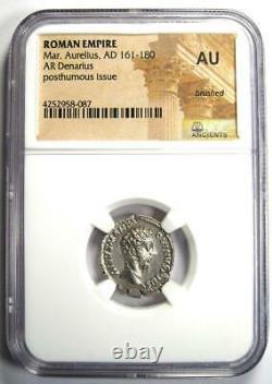 Roman Marcus Aurelius Ar Denarius Argent Pièce 161-180 Ad Certifié Ngc Au