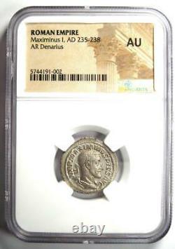 Roman Maximinus I Ar Denarius Silver Coin 235-238 Ad Certifié Ngc Au