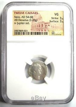 Roman Nero Ar Denarius Coin 54-68 Ad Certifié Ngc Vg Rare Coin