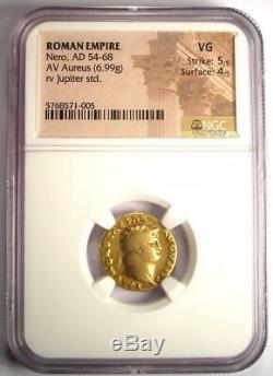 Roman Nero Or Av Aureus Coin 54-68 Ad Certifié Ngc Vg Condition