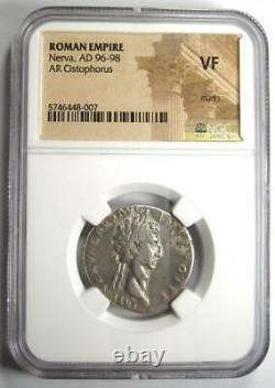 Roman Nerva Ar Argent Cistophorus Monnaie 96-98 Ad Certifié Ngc Vf (very Fine)