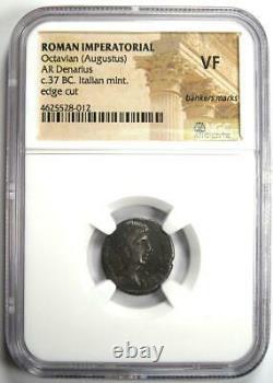 Roman Octave Auguste Ar Denarius Argent Pièce Italienne 37 Bc Certifié Ngc Vf