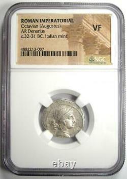 Roman Octave Augustus Ar Denarius Argent Pièce Italienne 32 Bc Certifié Ngc Vf