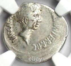 Roman Octave Augustus Ar Denarius Silver Coin 37 Bc Certifié Ngc Vf